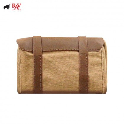 RAV DESIGN GENUINE LEATHER WITH CANVAS MULTI COMPARTMENT TRAVEL POUCH |RVP417C0