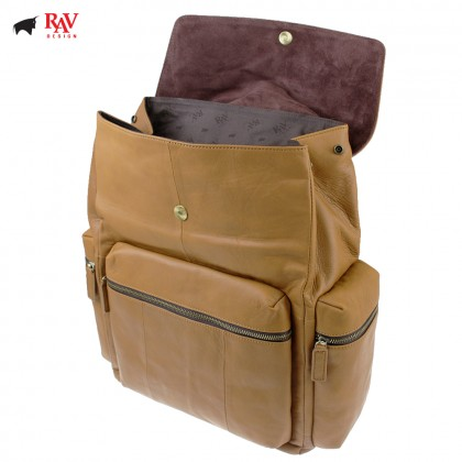 RAV DESIGN 100% Genuine Leather Backpack Light Brown |RVC454G4