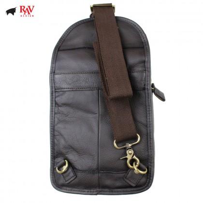RAV DESIGN 100% Genuine Leather Chest Bag Dark Brown |RVE463G2