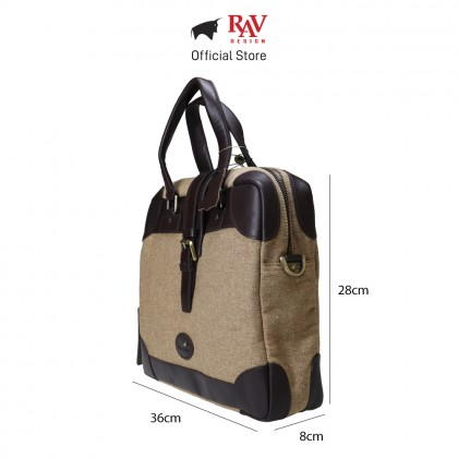 RAV DESIGN Men's Canvas with Leather Trimmings Briefcase Bag |RVC456G4