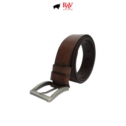 RAV DESIGN Men's 100% Genuine Cow Leather 40MM Pin Buckle Belt Brown  RVB590G1